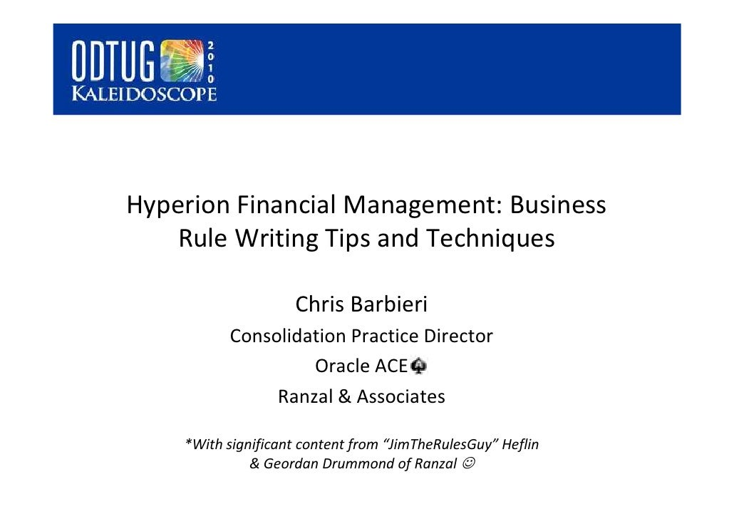 Business writing services rules in hyperion