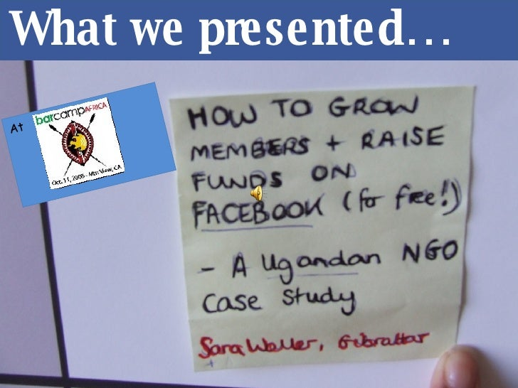 7 Secrets to Facebook Fundraising @ #BarcampAfrica