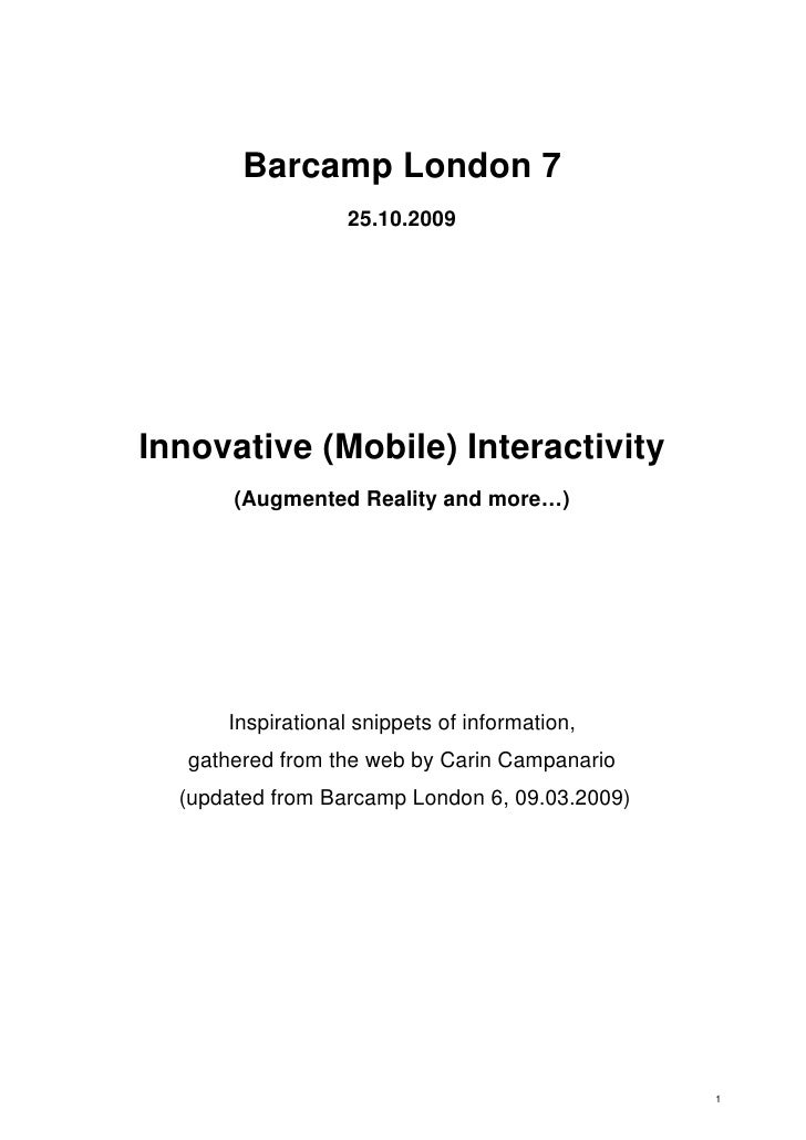 Innovative (Mobile) Interactivity (Augmented Reality and more…)