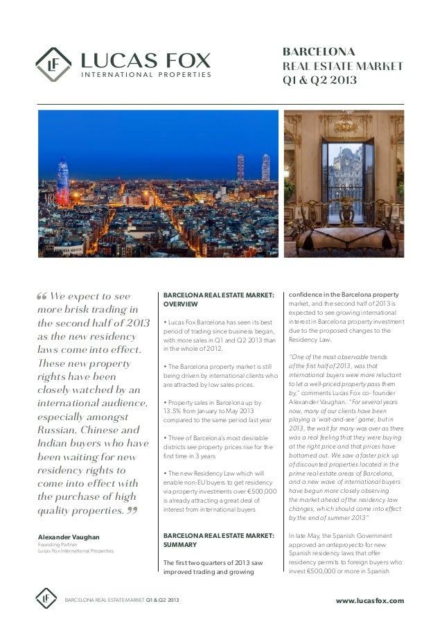 Barcelona Real Estate market report Q1-Q2 2013