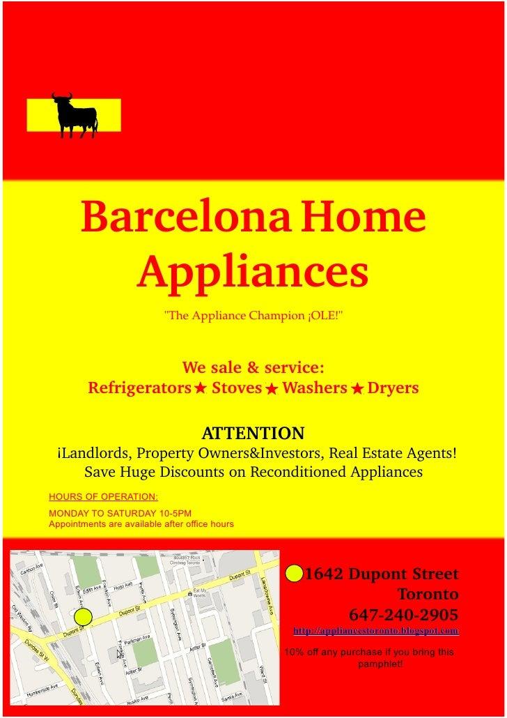 "BarcelonaHome         Appliances                            ""TheApplianceChampion¡OLE!""                     Wesale&..."