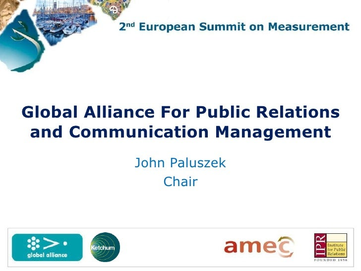 John Paluszek Chair Global Alliance For Public Relations and Communication Management