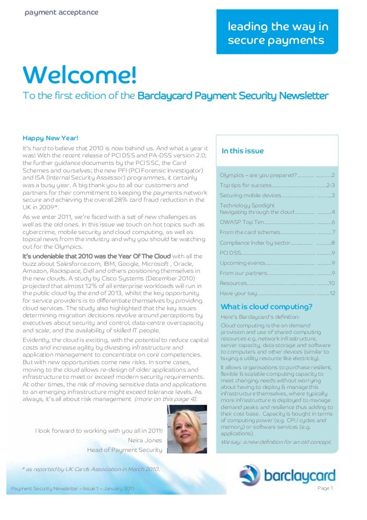 Barclaycard Payment Security Newsletter Jan11