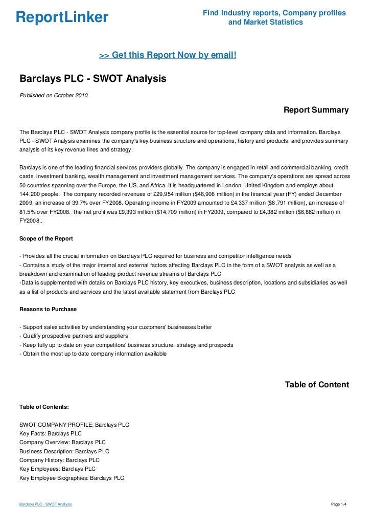Barclays PLC - SWOT Analysis