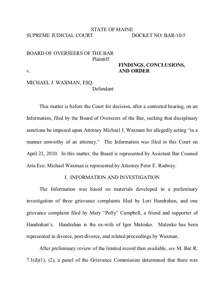 STATE OF MAINESUPREME JUDICIAL COURT             DOCKET NO: BAR-10-5BOARD OF OVERSEERS OF THE BAR                      Pla...