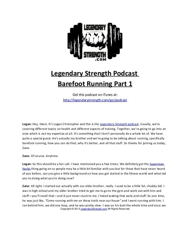 Barefoot Running with Zane Christopher Part 1 - Legendary Strength Podcast