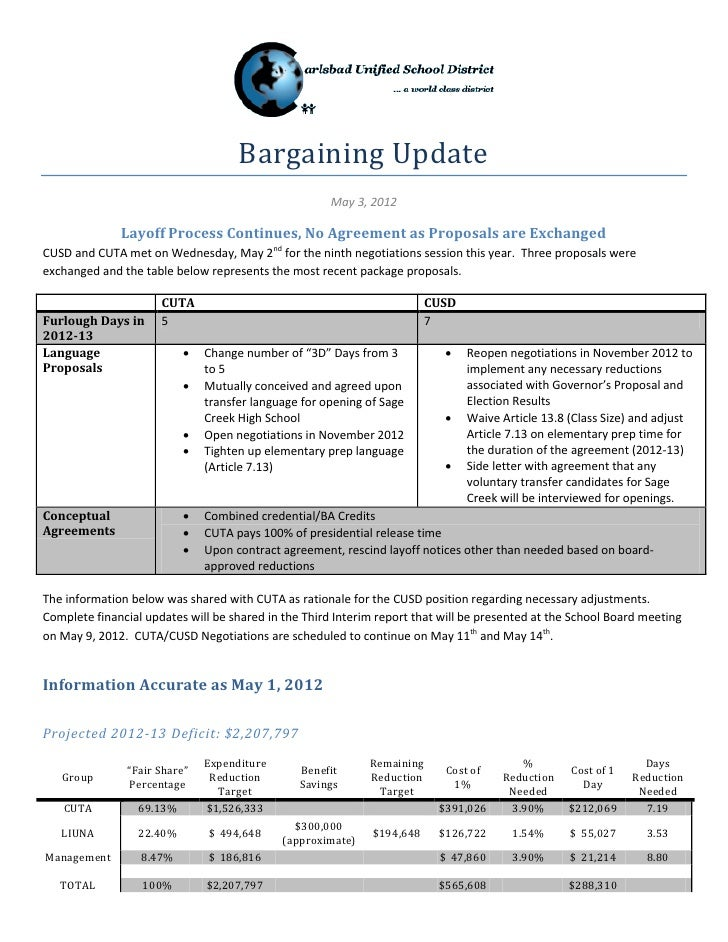Bargaining Update                                                      May 3, 2012              Layoff Process Continues, ...
