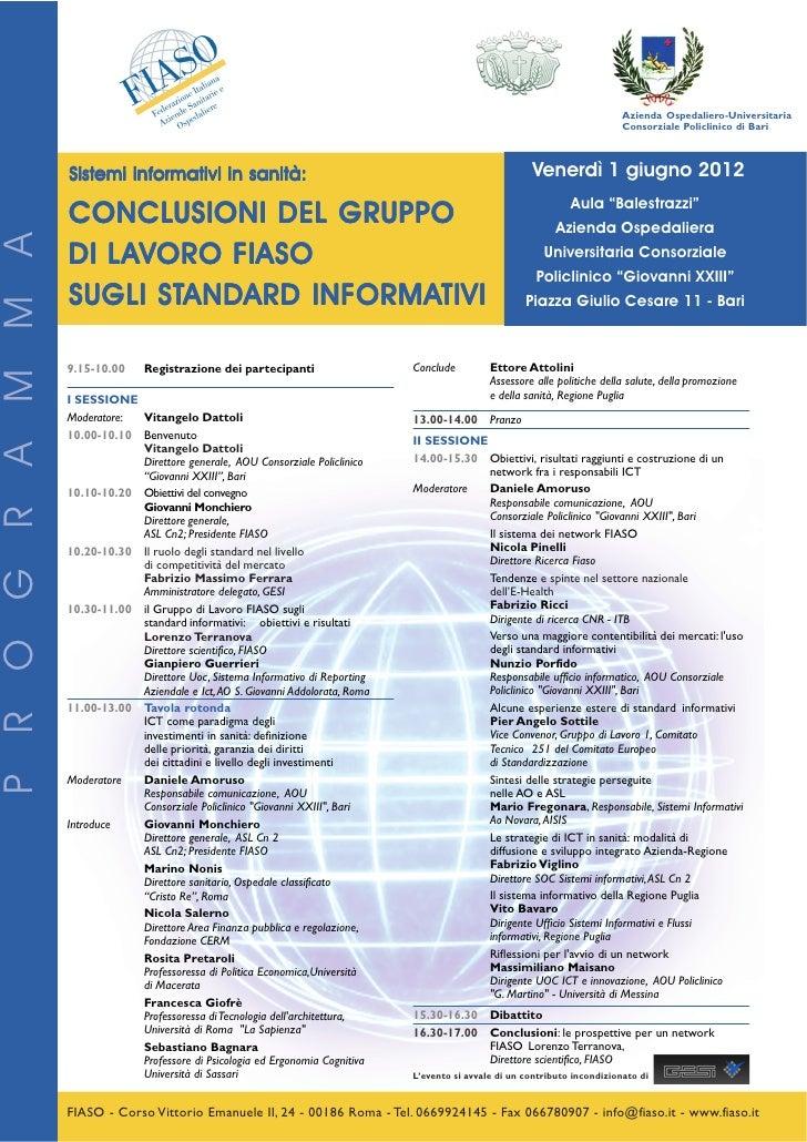 Bari, 1 Giugno - Programma Convegno FIASO