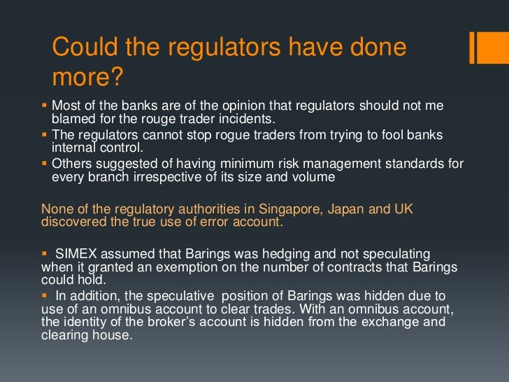 an analysis of traders for barings banks singapore branch