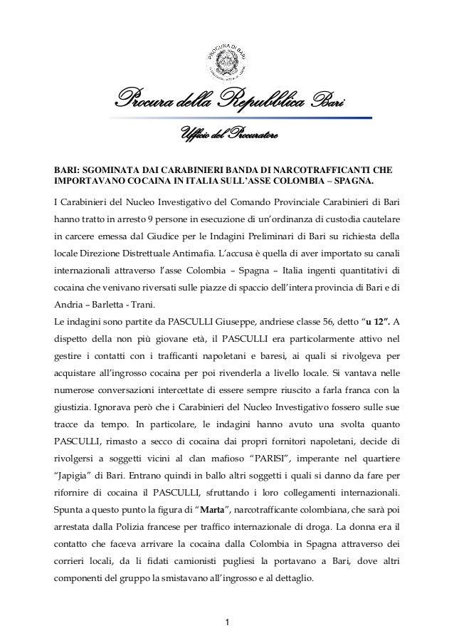 Procura della Repubblica Bari Ufficio del Procuratore BARI: SGOMINATA DAI CARABINIERI BANDA DI NARCOTRAFFICANTI CHE IMPORT...
