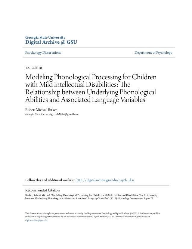 Georgia State UniversityDigital Archive @ GSUPsychology Dissertations                                                     ...