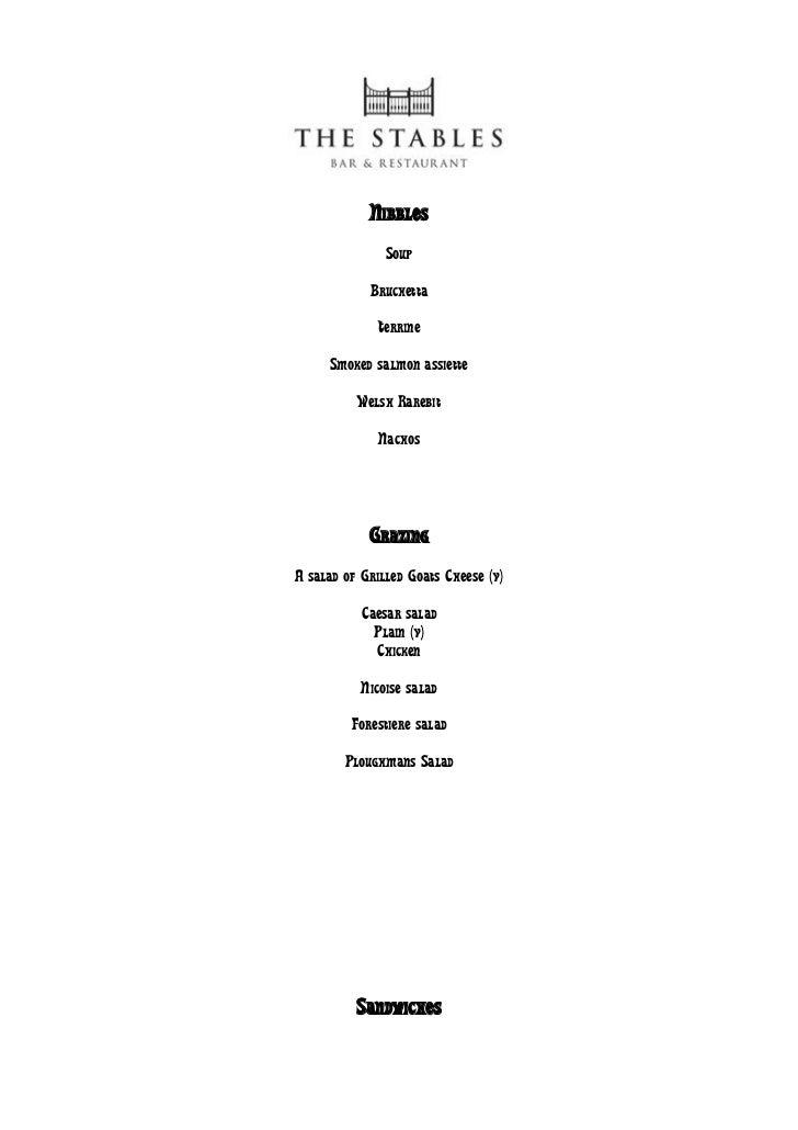 Bar menu for website