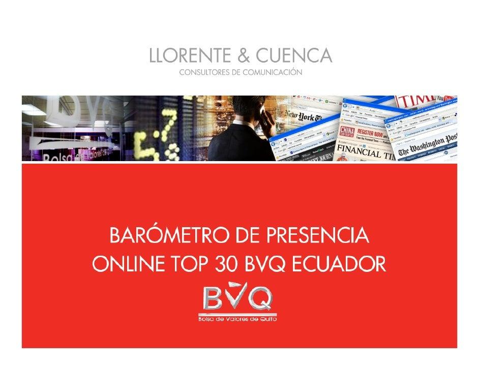 Barómetro de Presencia Online Top 30 BVQ Ecuador
