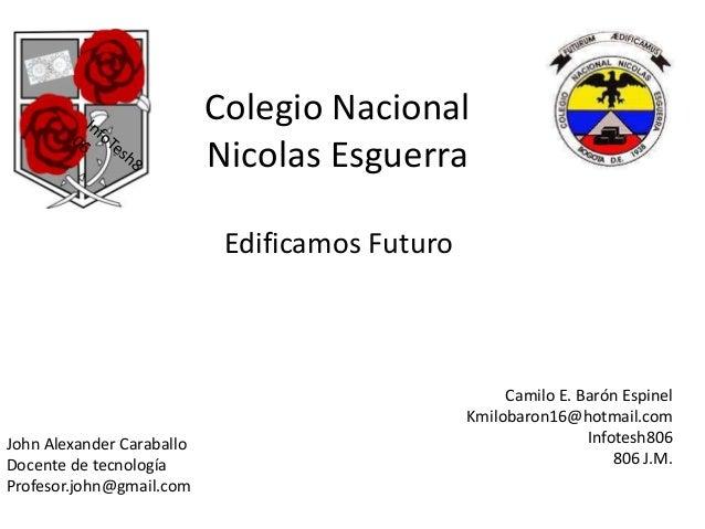 Colegio Nacional Nicolas Esguerra Edificamos Futuro  John Alexander Caraballo Docente de tecnología Profesor.john@gmail.co...