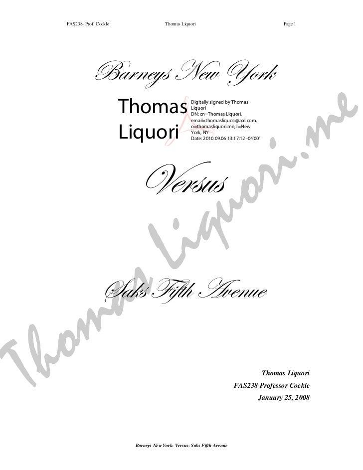 FAS238- Prof. Cockle                 Thomas Liquori                                        Page 1              Barneys New...