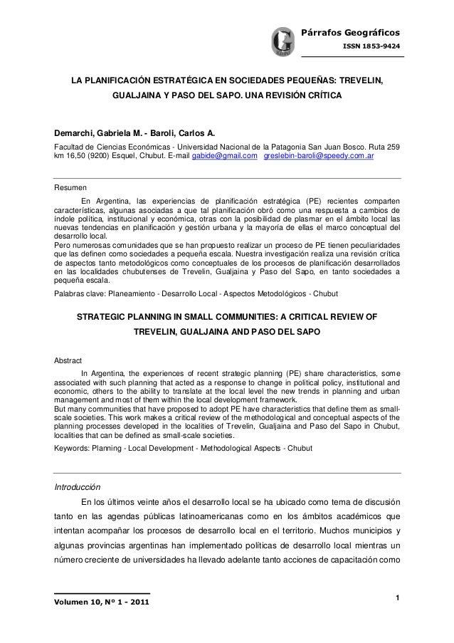 La planificación estratégica en sociedades pequeñas Trevelin, Gualjaina y Paso del Sapo. Una revisión crítica.