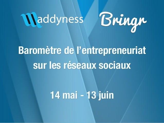 BringrBaromètre de l'entrepreneuriatsur les réseaux sociaux14 mai - 13 juin