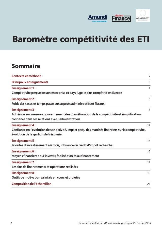 1  Baromètre réalisé par Aloa Consulting – vague 2 - Février 2015 Contexte et méthode 2 Principaux enseignements  3 Enseig...