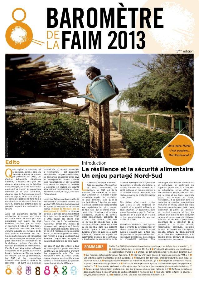 BAROMÈTRE FAIM 2013  Gwenn Dubourthoumieu / ACTED  Atteindre l'OMD1 c'est possible... Mobilisons-nous !  Edito  Q  u'il s'...