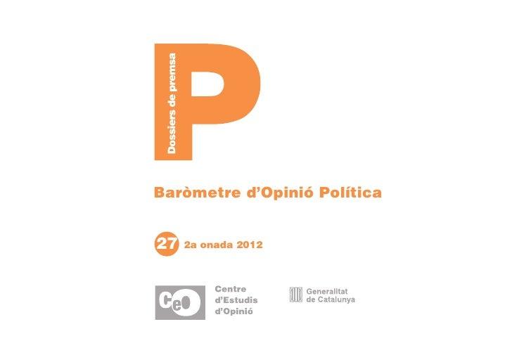 Baròmetre d'Opinió Política27   2a onada 2012