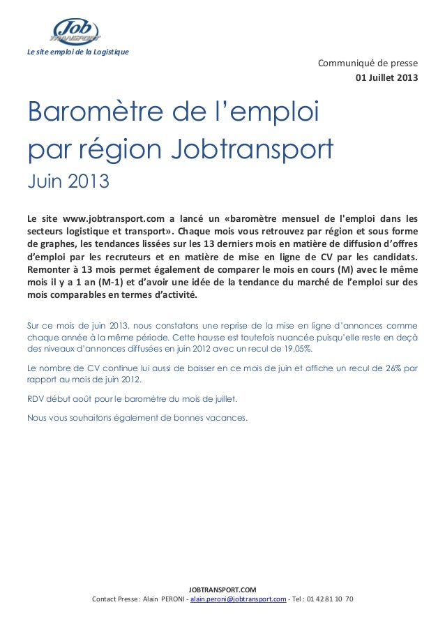 Le site emploi de la Logistique JOBTRANSPORT.COM Contact Presse : Alain PERONI - alain.peroni@jobtransport.com - Tel : 01 ...