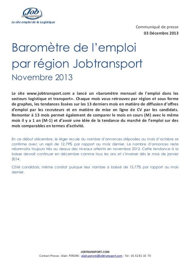 Le site emploi de la Logistique  Communiqué de presse 03 Décembre 2013  Baromètre de l'emploi par région Jobtransport Nove...