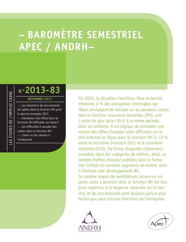 Baromètre Apec Andrh Bilan 2013