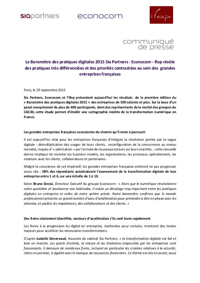 Le Baromètre des pratiques digitales 2015 Sia Partners - Econocom - Ifop révèle des pratiques très différenciées et des pr...