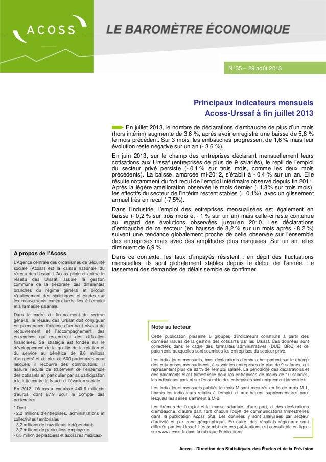 Acoss - Direction des Statistiques, des Études et de la Prévision Note au lecteur Cette publication présente 6 groupes d'i...
