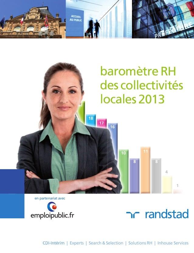 en partenariat avec baromètre RH des collectivités locales 2013 4 1 21 18 17 16 10 8 11 8 baromètre RH des collectivités l...