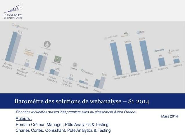 18/03/2014Baromètre S1 2014 des outils de webanalyse Données recueillies sur les 200 premiers sites au classement Alexa Fr...