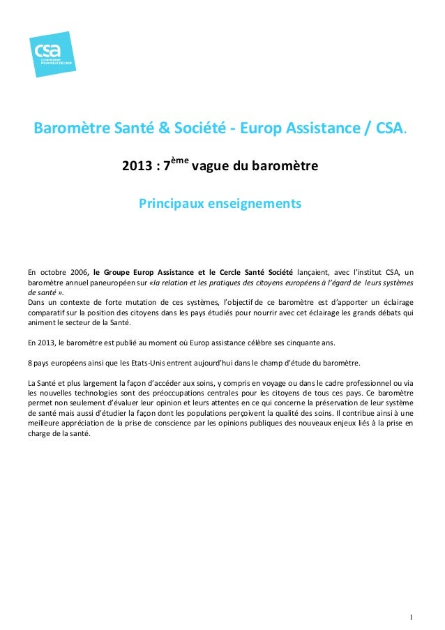 Baromètre Santé & Société - Europ Assistance / CSA. 2013 : 7ème vague du baromètre Principaux enseignements  En octobre 20...