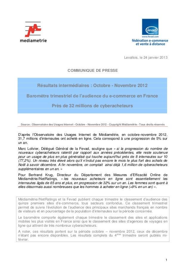 Levallois, le 24 janvier 2013                                      COMMUNIQUE DE PRESSE              Résultats intermédiai...