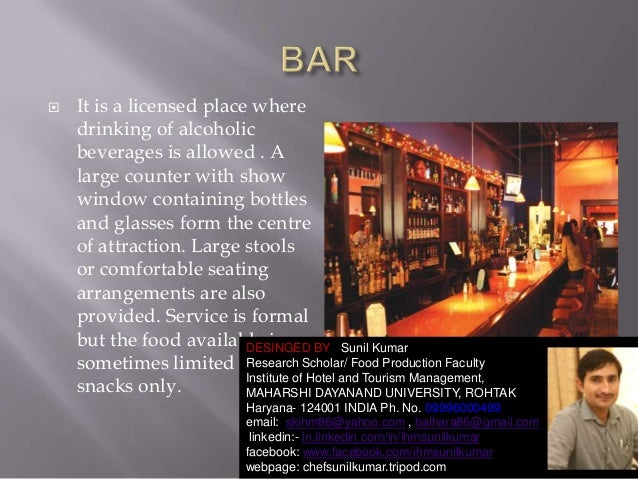   It is a licensed place where drinking of alcoholic beverages is allowed . A large counter with show window containing b...