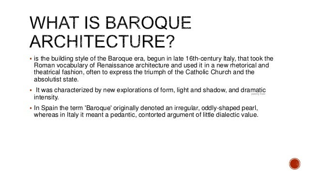 History baroque architecture for Churches of baroque period
