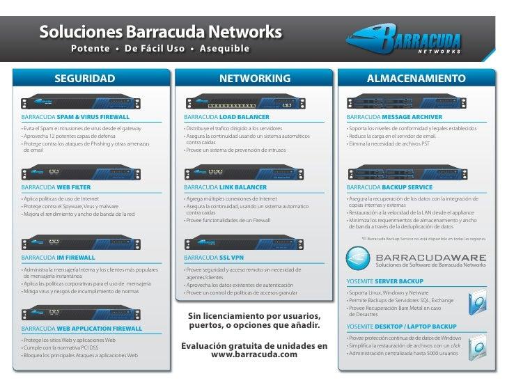 Soluciones Barracuda Networks                      Potente • De Fácil Uso • Asequible               SEGURIDAD             ...