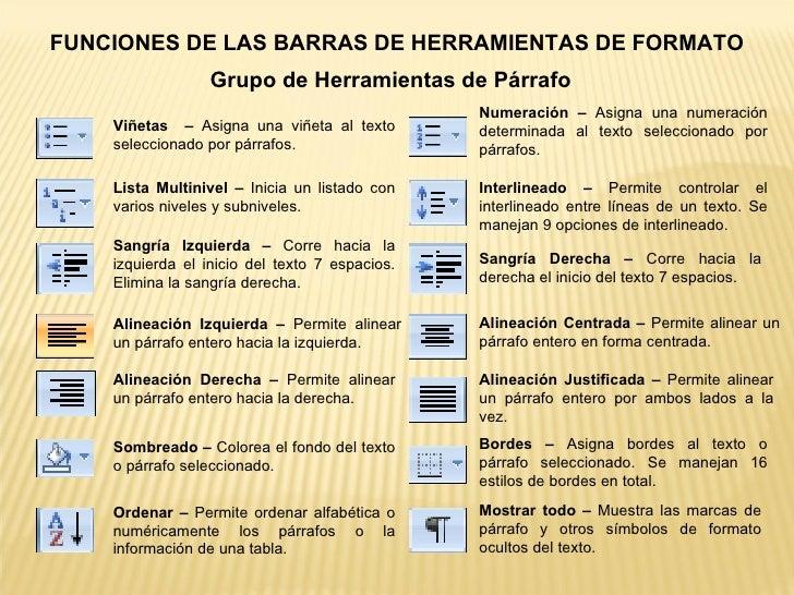 FUNCIONES DE LAS BARRAS DE HERRAMIENTAS DE FORMATO Grupo de Herramientas de Párrafo Viñetas – Asigna una viñeta al text...
