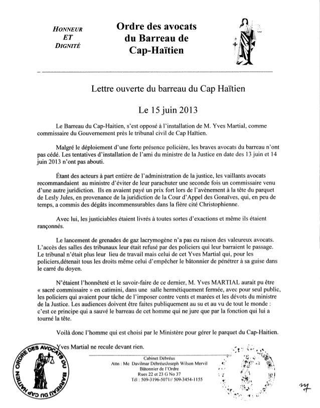 Lettre ouverte du Barreau de Cap-Haïtien.-- 15 juin 2013.