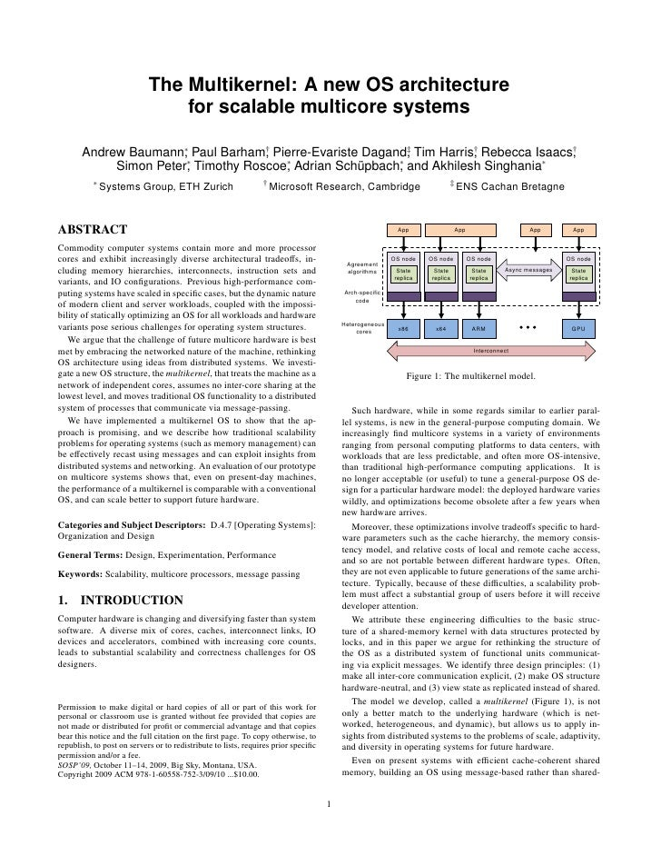 The Multikernel: A new OS architecture                                for scalable multicore systems       Andrew Baumann∗...