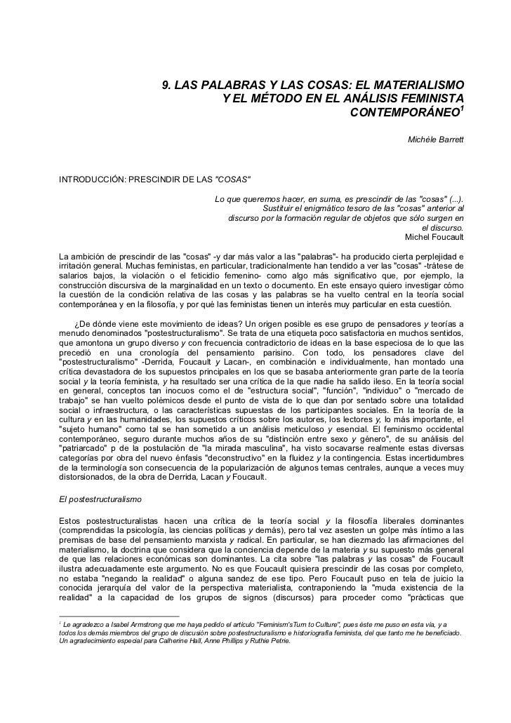 9. LAS PALABRAS Y LAS COSAS: EL MATERIALISMO                                           Y EL MÉTODO EN EL ANÁLISIS FEMINIST...