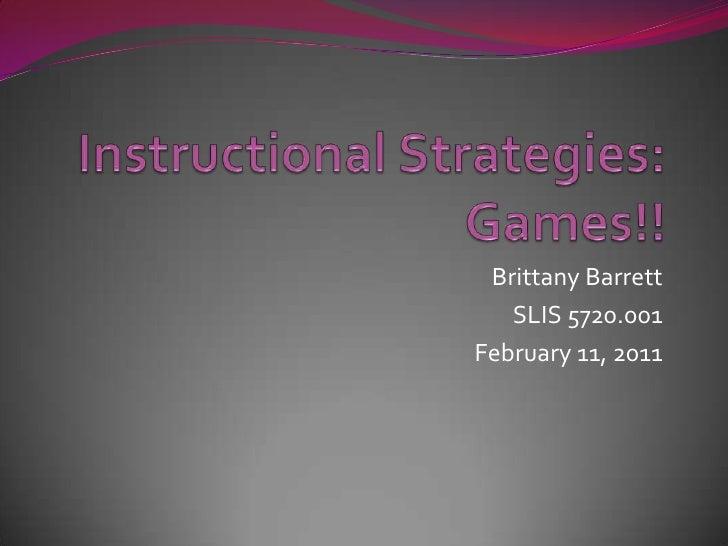 Barrett slis 5720 instructional strategies