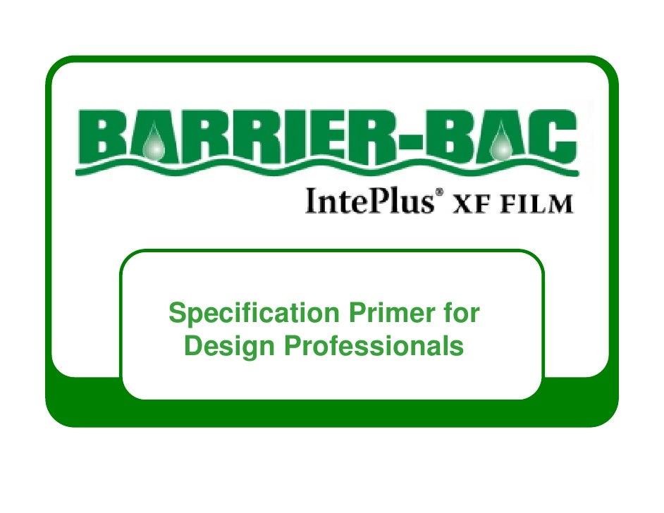 Specification Primer for Design Professionals