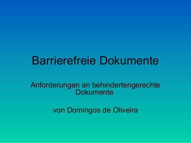 Barrierefreie Dokumente Anforderungen an behindertengerechte Dokumente von Domingos de Oliveira