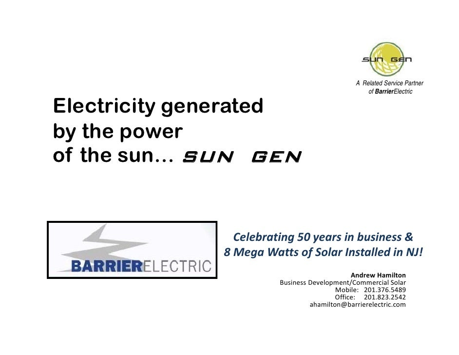 A Related Service Partner                                                   of BarrierElectric  Electricity generated by t...