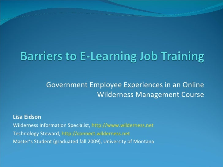 Barriers to e learning job training presentation no sound