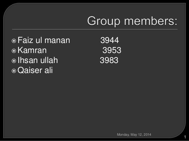 Faiz ul manan 3944 Kamran 3953 Ihsan ullah 3983 Qaiser ali Monday, May 12, 2014 1