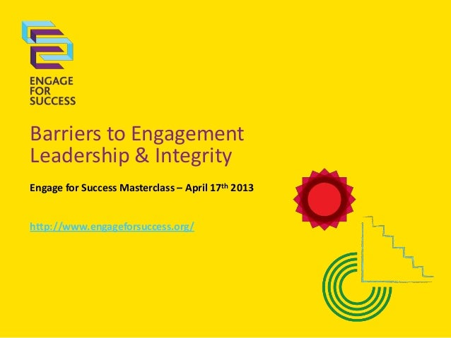 Barriers to EngagementLeadership & IntegrityEngage for Success Masterclass – April 17th 2013http://www.engageforsuccess.org/