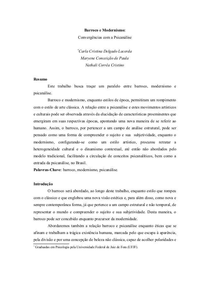 Barroco e Modernismo:                                  Convergências com a Psicanálise                                  * ...