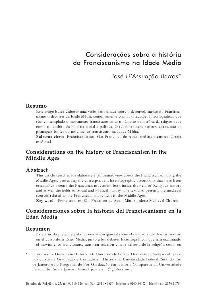 Considerações sobre a história                                 do Franciscanismo na Idade Média                           ...
