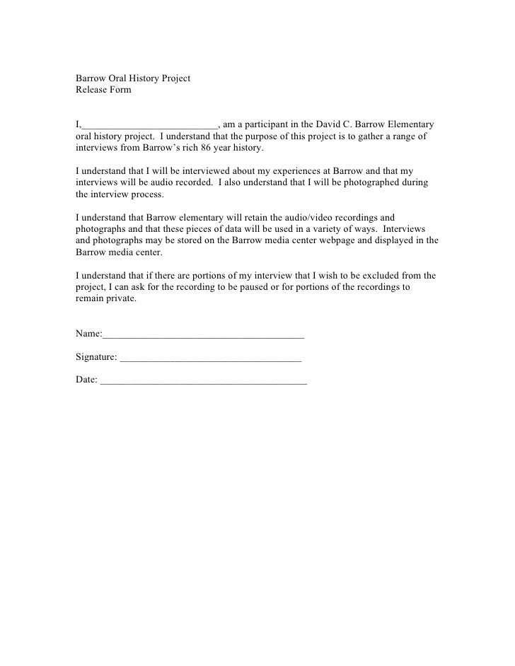 Barrow Oral History Project Release Form   I,___________________________, am a participant in the David C. Barrow Elementa...